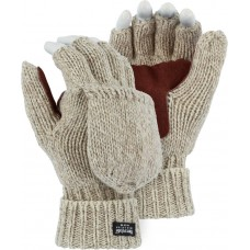 3422 Winter-lined Wool Fingerless Glove with Fingers Hood and Palm Leather Patch