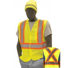 "5-point Breakaway Mesh Vest, High Visibility, ""X"" Back, Class 2, Yellow, Velcro"