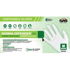 Derma-Defender White Exam Foof Grade Powder-Free Nitrile Glove