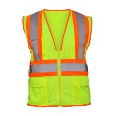 2-Toned Class 2 Flame Retardant Hi-Viz Safety Vest- Yellow