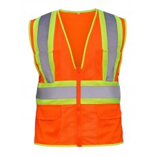 2-Toned Class 2 Flame Retardant Hi-Viz Safety Vest- Orange