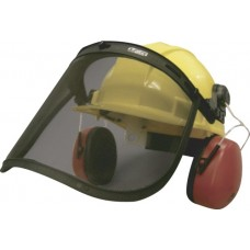 Earmuffs/Steel Wire Mesh Face Shield Combo with Hard Hat Attachment Hardware