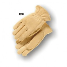 A Grade Cowhide Drivers Glove, Cream Color, Keystone Thumb, Leather Rolled Hem.