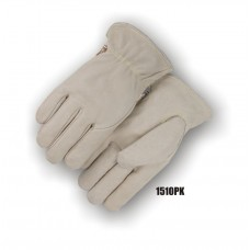 Heavier weight grain pigskin, seamless index finger, Kevlar sewn, Leather rolled hem, Color coded size tag