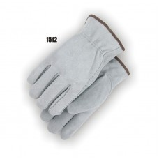 Driver,Shoulder Split Cowhide, Keystone Thumb, Shirred Back, Gray
