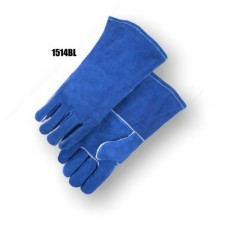 Blue side split welders glove, one piece back, rolled leather hem, Kevlar sewn, sock lined