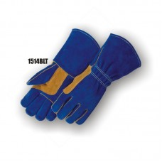Side Split Cowhide, Wing Thumb, Palm Patch & Thumb, Strap, Kevlar Sewn, Blue