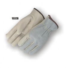 B Grade Grain Cowhide Palm & Index Finger, Split Cow Back, Key Thumb, Cloth Hem, Shirred Back, Seamless index finger, Kevlar sewn