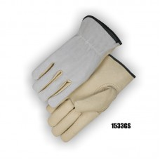 B Grade Goatskin Drivers, Cowsplit Back, Keystone Thumb, Cloth Hem, Shirred Back, Beige/Gray