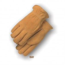 A grade split deerskin, keystone thumb, leather rolled hem
