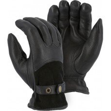 1546T Winter Lined Deerskin Drivers Glove with Reversed Back and Leather Strap