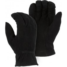 1548BLK Winter Lined Black Deerskin Drivers Glove