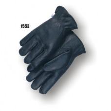 Top-quality black deerskin with a keystone thumb, gunn cut, shirred elastic back, and rolled leather hem.