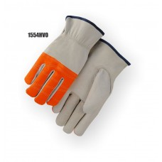 Driver, goatskin, keystone thumb, high visibility orange