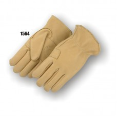 A grade medium weight Elkskin, double palm, keystone thumb, inside seam index finger, shirred back, rolled leather hem