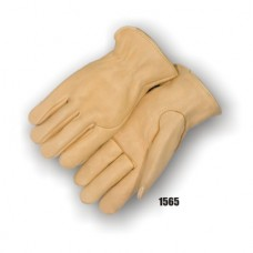 A Grade Elkskin drivers, single palm, keystone thumb, seamless index finger, leather rolled hem