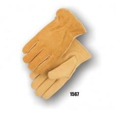 B Grade Deerskin drivers, grain palm, reverse grain back, gunn cut, keystone thumb, leather rolled hem