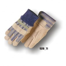 Work Glove, Split Cowhide, Knuckle Strap, Knit Wrist
