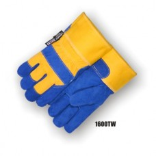 Split Cowhide Palm, Knuckle Strap, Safety Cuff, Thins Lined, Waterproof Bladder, Blue/Yellow