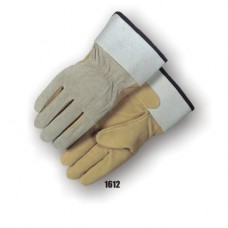 Grain Pigskin Palm, Split Pigskin Back, Knuckle Strap, Wing Thumb, Safety Cuff, Fleece Lined