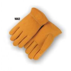 Grain Elkskin, Keystone Thumb, Shirred Back, Rolled Leather Hem, Fleece Lined
