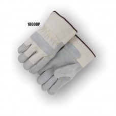 Split Cowhide Double Palm, Knuckle Strap, Wing Thumb, Rubberized Safety Cuff, Kevlar Sewn