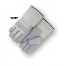 Split Cowhide Dbl Palm & Fingers, Knuckle Strap, Wing Thumb, Rubberized Gauntlet, Kevlar Sewn