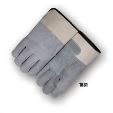 Split Cowhide Int Dbl Palm & Fingers, Full Back, Straight Thumb, Rubber Safety Cuff, Kevlar Sewn