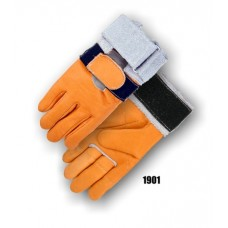 Grain Cowhide, Full Finger With Padded Palm, Velcro Wrist Support