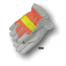 A Grain Cowhide Palm, Keystone Thumb, 3m Reflective Knuckle, ANSI 107 Hi-Vis Orange Back