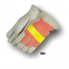 Grain Cowhide Palm, Keystone, 3m Reflective Knuckle, Ansi 107 Orange Back, Thinsulate Lined