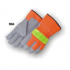 High visibility leather palm with fluorescent orange poly-woven back and 3M reflective knuckle strap