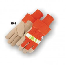 Split Pigskin Palm, 3m Reflective Knuckle, Ansi 107 Orange Back, Safety Cuff With Kw, Fleece Lind