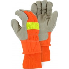 1960 Winter Lined Split Pigskin Leather Palm Glove with High Visibility Woven Back