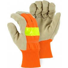 1961 Winter Lined Split Pigskin Leather Palm Glove with High Visibility Woven Back