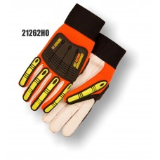 Knucklehead Driller X10, Corded Cotton/Polyester Palm, TPR finger and back impact protection. Orange