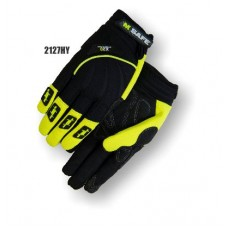 Armorskin Synthetic Leather, Touch Screen Index Finger and Thumb, Neoprene Back, Velcro Closure, Black/Hi-Vis Yellow