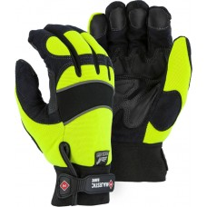 2145HYH Winter-Lined Synthetic Leather High Visibility Mechanics Glove