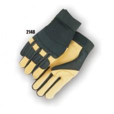 A Grade Gold Deerskin Palm, Black Mesh Back, Neoprene Knuckle, Velcro Closure, Mechanics Style