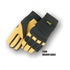 A Grade Gold Deerskin Palm, Black Stretch Back, Velcro Closure, Mechanics Style