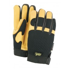A Grade Gold Deerskin Palm, Black Stretch Back, Velcro Closure, Mechanics Style, Heatlok Lined