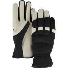 A Grade Beige Pigskin Palm, Black Stretch Back, Neoprene Knuckle, Slip On, Mechanics Style