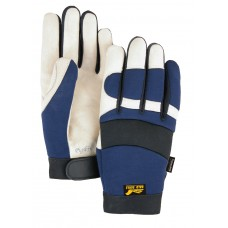 A Grade Beige Pigskin Palm, Blue Stretch Back, Velcro Closure, Mechanics Style, Thinsulate Lined