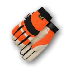 A Grade Beige Pigskin Palm, Orange Stretch Back, Velcro Closure, Mechanics Style, Thinsulate