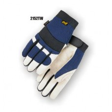 A Grade Beige Pigskin Palm, Blue Stretch Back, Velcro Closure, Mechanics, Thinsulate, Waterproof