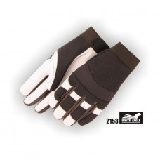 White Eagle Mechanics Glove with Grain Goatskin Palm and Knit Back and velcro closure