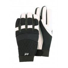 A Grade White Goatskin Palm, Black Stretch Back, Velcro Closure, Mechanics Style, Thinsulate