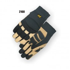 A Grade Beige Pigskin Palm, Black Stretch Back, Neoprene Knuckle, Velcro Closure, Mechanics Style