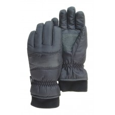 Black Ski Glove, Waterproof, With Heater Pocket, Knit Wrist