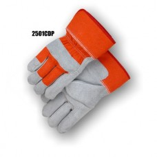 Split Cowhide Internal Double Palm, Knuckle Strap, Wing Thumb, Orange Back And Cuff